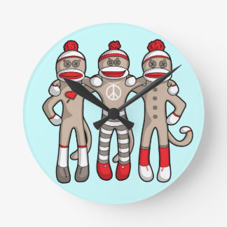 Sock Monkey Friends Forever Round Clock