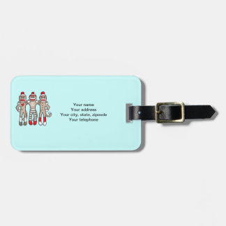 Sock Monkey Friends Forever Luggage Tag