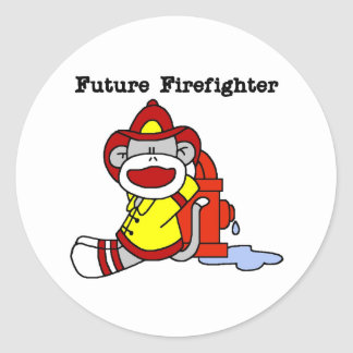 Sock Monkey Future Firefighter Classic Round Sticker
