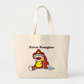 Sock Monkey Future Firefighter Large Tote Bag