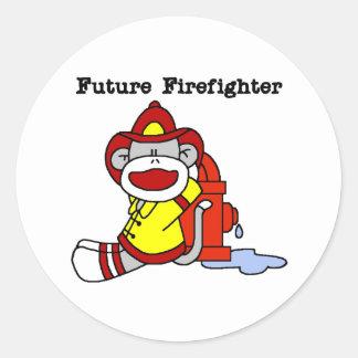 Sock Monkey Future Firefighter Sticker