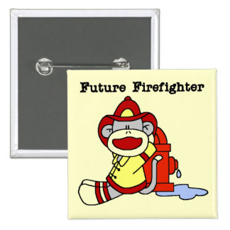 Sock Monkey Future Firefighter Tshirts and Gifts 2 Inch Square Button
