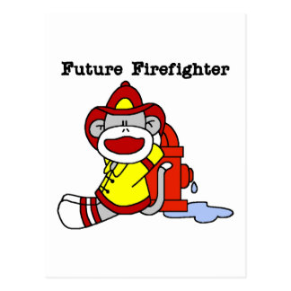 Sock Monkey Future Firefighter Tshirts and Gifts Postcard