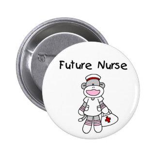 SOCK MONKEY FUTURE NURSE BUTTON