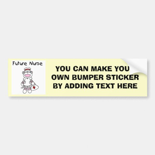 Sock  Monkey Future Nurse T-shirts and Gifts Car Bumper Sticker