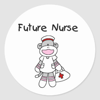 Sock  Monkey Future Nurse T-shirts and Gifts Classic Round Sticker
