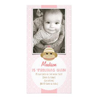 Sock Monkey Girl Birthday Invitation New Baby