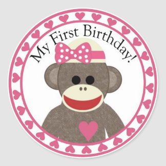 Sock Monkey Girl Birthday Sticker