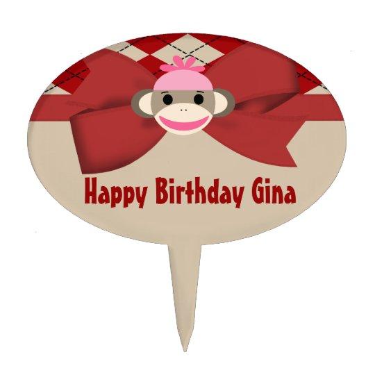 Sock Monkey Girl Gingham Birthday Party Cake Topper