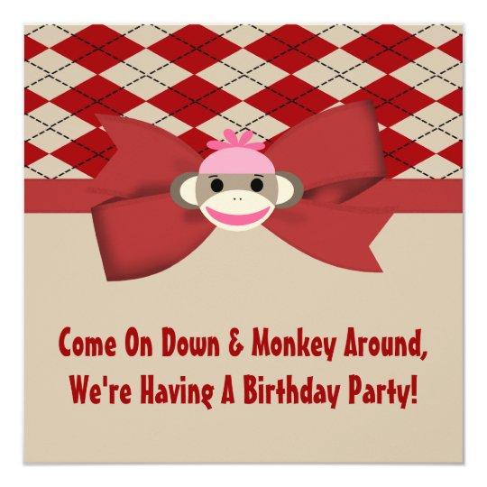 Sock Monkey Girl Gingham Birthday Party Card
