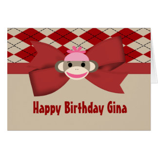 Sock Monkey Girl Gingham Birthday Party Card