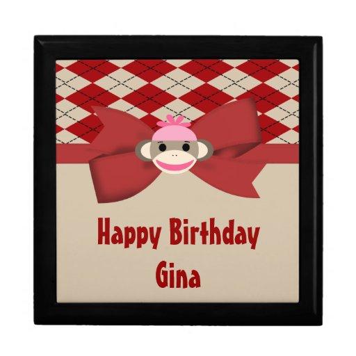 Sock Monkey Girl Gingham Birthday Party Gift Box