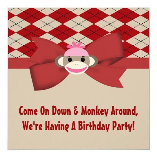 Sock Monkey Girl Gingham Birthday Party Invitation