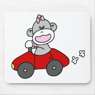 Sock Monkey Girl in Red Car Mouse Pad
