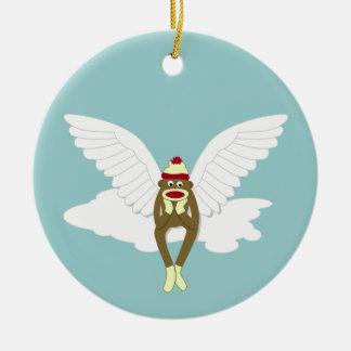 Sock Monkey Guardian Angel Christmas Tree Ornament