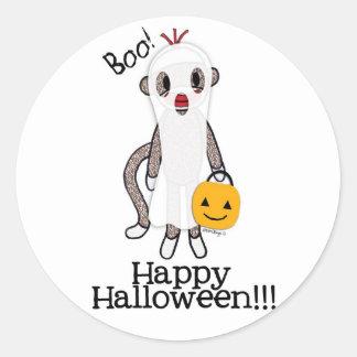 Sock Monkey Halloween Ghost Classic Round Sticker