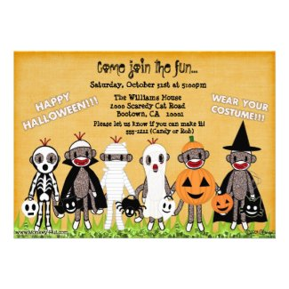Sock Monkey Halloween Greeting Card or Invitation