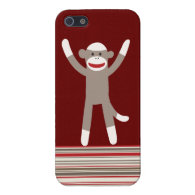 Sock Monkey Hands Up Red Tan Striped iPhone 5 Case