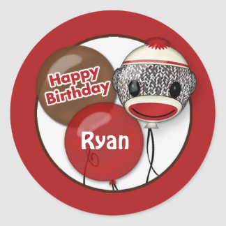 SOCK MONKEY Happy Birthday Round sticker SMR 2