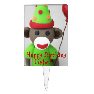 Sock Monkey Happy Birthday with Red Balloon Cake Topper
