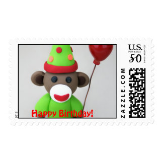 Sock Monkey Happy Birthday with Red Balloon Postage