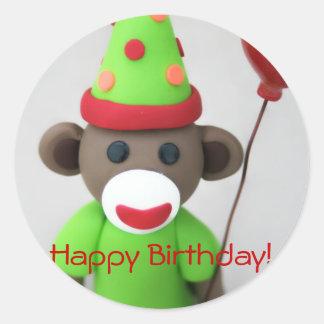 Sock Monkey Happy Birthday with Red Balloon Round Sticker