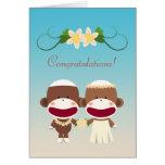 Sock Monkey Hawaiian Wedding Card