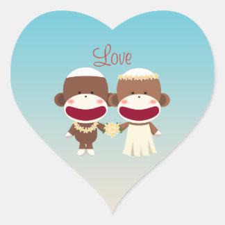 Sock Monkey Hawaiian Wedding Sticker