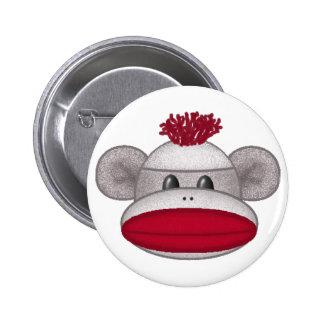 Sock Monkey Head Pin