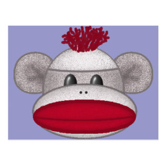 Sock Monkey Head Postcard