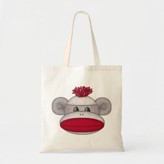 Sock Monkey Head Tote Bag