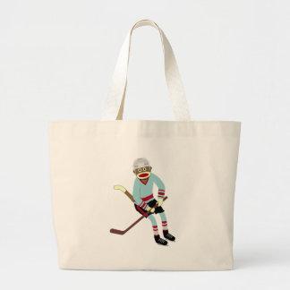 Sock Monkey Hockey Player Tote Bags