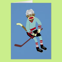 Sock Monkey Hockey Player Card