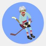 Sock Monkey Hockey Player Classic Round Sticker
