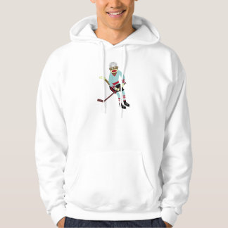 Sock Monkey Hockey Player Hoodie
