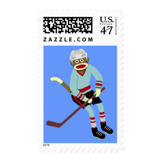Sock Monkey Hockey Player Postage