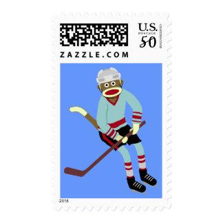 Sock Monkey Hockey Player Postage