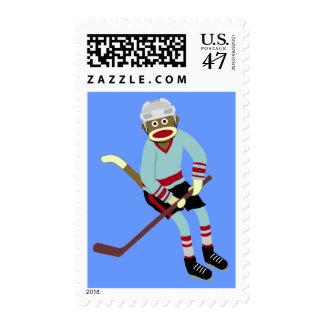 Sock Monkey Hockey Player Stamp