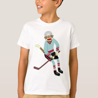 Sock Monkey Hockey Player T-Shirt