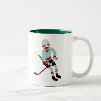 Sock Monkey Hockey Player Two-Tone Coffee Mug