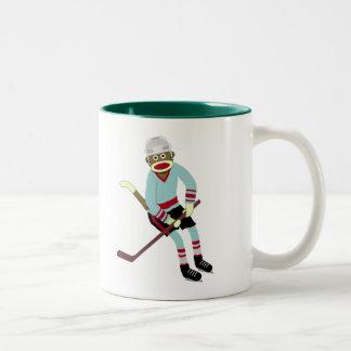 Sock Monkey Hockey Player Two-Tone Coffee Mug