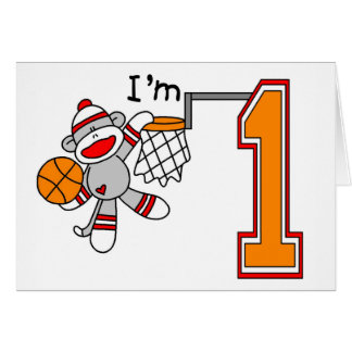 Sock Monkey Hoops 1st Birthday Greeting Cards