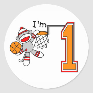 Sock Monkey Hoops 1st Birthday Classic Round Sticker