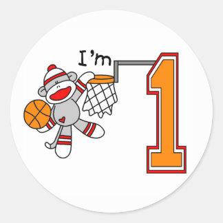 Sock Monkey Hoops 1st Birthday Round Stickers