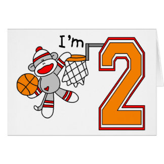 Sock Monkey Hoops 2nd Birthday Greeting Cards