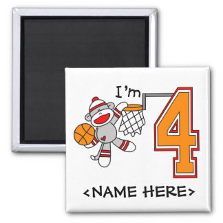 Sock Monkey Hoops 4th Birthday 2 Inch Square Magnet