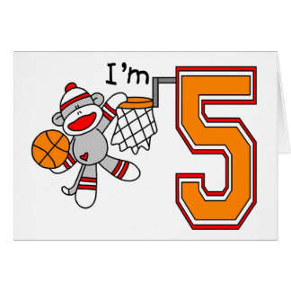 Sock Monkey Hoops 5th Birthday Cards