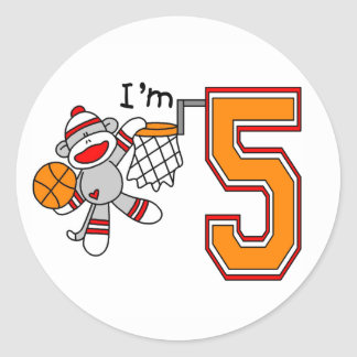 Sock Monkey Hoops 5th Birthday Classic Round Sticker
