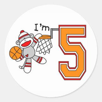 Sock Monkey Hoops 5th Birthday Round Stickers