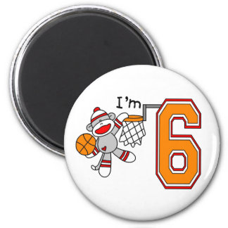 Sock Monkey Hoops 6th Birthday Magnet